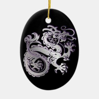 Dragon Icon - Purple Silver on Black - 1 Ceramic Ornament
