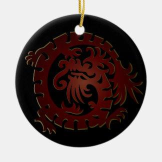 Dragon Icon - Red Green on Black - 1NBG Ceramic Ornament