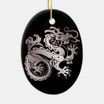 Dragon Icon - Red Silver on BlackB - 1 Double-Sided Oval Ceramic Christmas Ornament