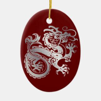 Dragon Icon - Red Silver on Red - 1 Ceramic Ornament