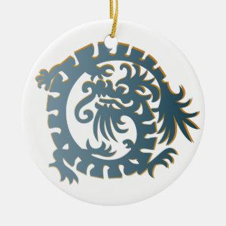 Dragon Icon - Slate Blue Yellow White - 1 Ceramic Ornament