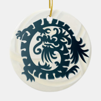 Dragon Icon - White Blue - 1B Ceramic Ornament