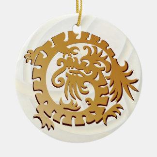 Dragon Icon - White Gold-Red - 1B Ceramic Ornament