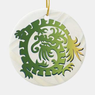 Dragon Icon - White Green Yellow - 1B Ceramic Ornament