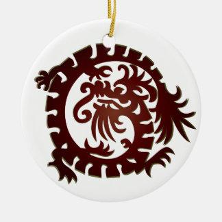 Dragon Icon - White Red Green - 1 Ceramic Ornament