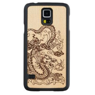 Dragón imperial chino asiático de madera funda de galaxy s5 slim arce