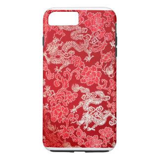 Dragón imperial chino asiático del oro en la seda funda iPhone 7 plus