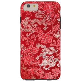 Dragón imperial chino asiático del oro en la seda funda resistente iPhone 6 plus