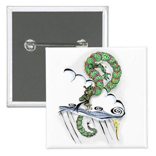 Dragón imperial pin cuadrada 5 cm