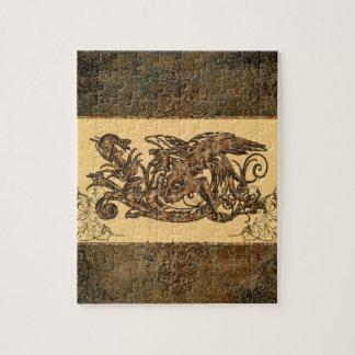 Dragón impresionante hecho del metal oxidado rompecabezas