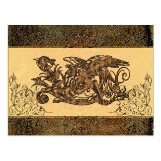 Dragón impresionante hecho del metal oxidado tarjeta postal
