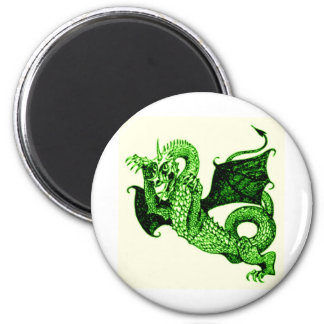 DRAGON IN BATTLE MEDIEVAL PRINT IN GREEN MAGNET