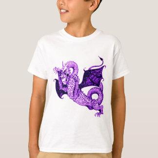 DRAGON IN BATTLE MEDIEVAL PRINT IN PURPLE T-Shirt