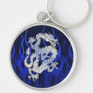 Dragon in Chrome like blue Carbon Fiber Style Keychain