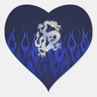 Dragon in Chrome like blue Carbon Fiber Styles Heart Sticker