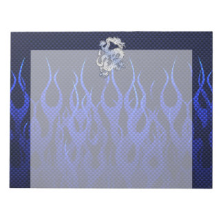 Dragon in Chrome like blue Carbon Fiber Styles Notepad