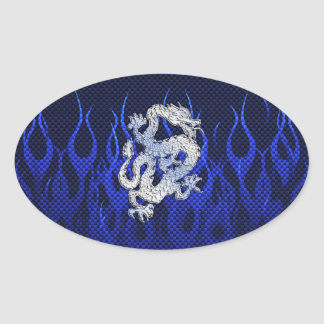 Dragon in Chrome like blue Carbon Fiber Styles Oval Sticker