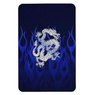 Dragon in Chrome like blue Carbon Fiber Styles Rectangular Photo Magnet