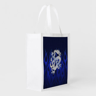 Dragon in Chrome like blue Carbon Fiber Styles Reusable Grocery Bags