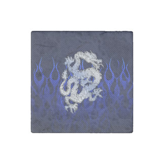 Dragon in Chrome like blue Carbon Fiber Styles Stone Magnet
