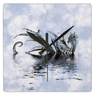 Dragon in Misty Waters Grunge Wall Clock