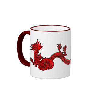 Dragon in Red Ringer Mug