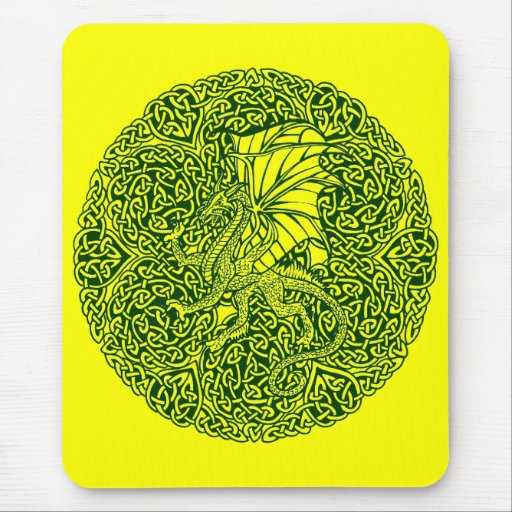 Dragon in Round Celtic Knot Mouse Pad