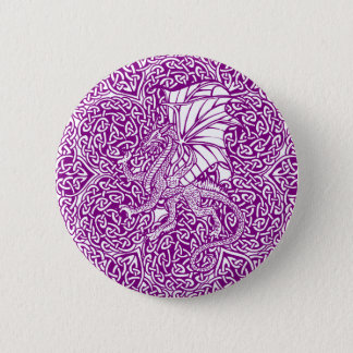Dragon in Round Celtic Knot Pinback Button
