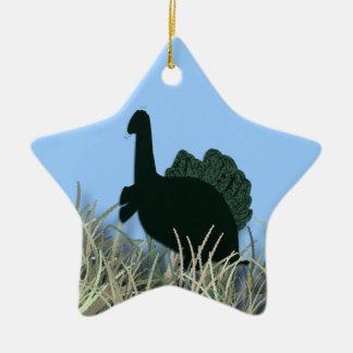 Dragon in the grass ceramic ornament