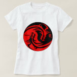 dragon in yinyang black and red T-Shirt