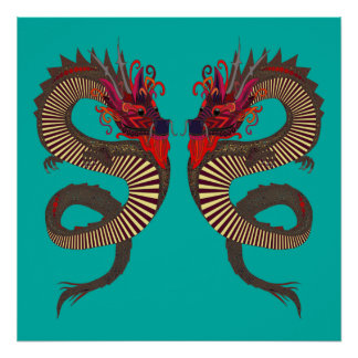 DRAGON INK turquoise Poster