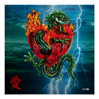 Dragon into love by A burning heart Poster