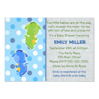 Dragon Invitation Twins Baby Shower