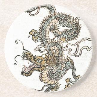 Dragón japonés chino - práctico de costa de la pie posavaso para bebida