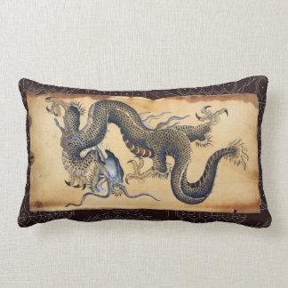 Dragón japonés del arte del tatuaje del vintage cojín lumbar