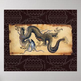 Dragón japonés del arte del tatuaje - impresión poster