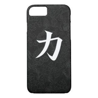 Dragón japonés del negro de la caligrafía del funda iPhone 7