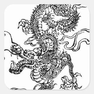 Dragón japonés - en el estilo chino pegatina cuadrada