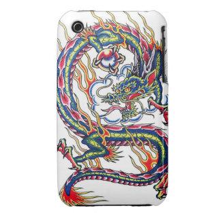 Dragón japonés oriental fresco con el tatuaje del iPhone 3 cobertura