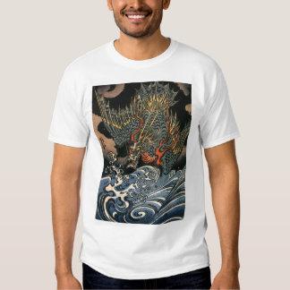 Dragón japonés que pinta la camisa de la C. 1800's
