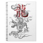 Dragón japonés tradicional con kanji libro de apuntes