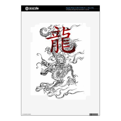 Dragón japonés tradicional con kanji pegatinas skins para iPad 3