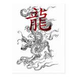 Dragón japonés tradicional con kanji postal