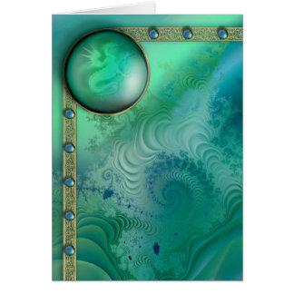 Dragon Jewel Fractal Greeting Card