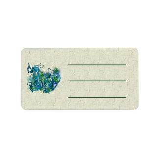 Dragón Jeweled azul Etiquetas De Dirección