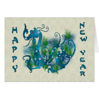 Dragón Jeweled azul Felicitacion