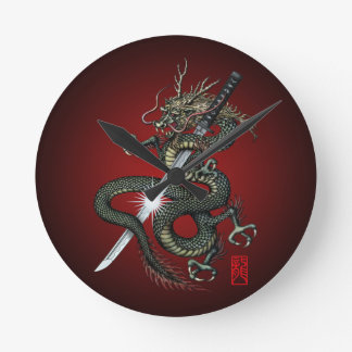 Dragon katana3 round clock