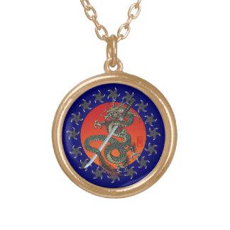 Dragon katana 2 round pendant necklace