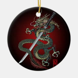 Dragon katana ceramic ornament