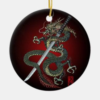 Dragon katana ceramic ornament